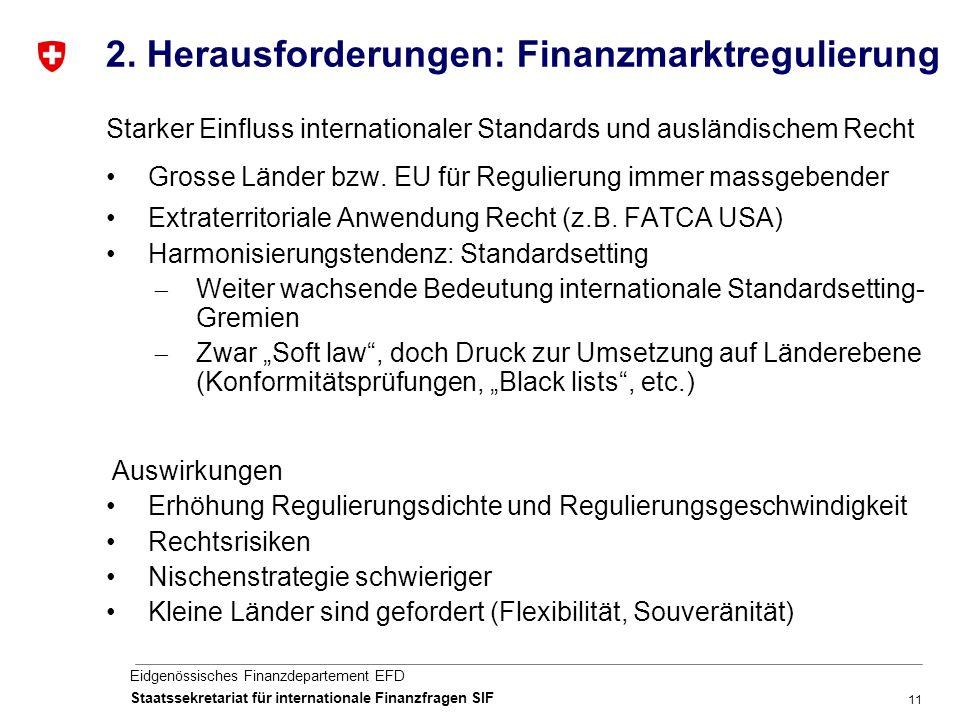 11 Eidgenössisches Finanzdepartement EFD Staatssekretariat für internationale Finanzfragen SIF 2.