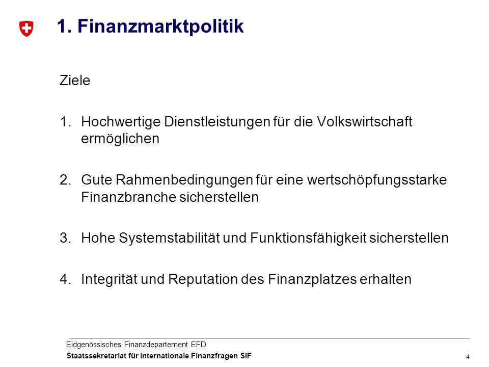 4 Eidgenössisches Finanzdepartement EFD Staatssekretariat für internationale Finanzfragen SIF 1.