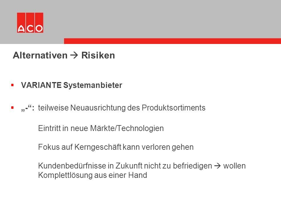 """ VARIANTE Systemanbieter  """"-"""": teilweise Neuausrichtung des Produktsortiments Eintritt in neue Märkte/Technologien Fokus auf Kerngeschäft kann verlo"""