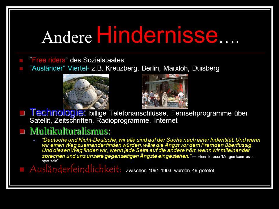 Andere Hindernisse …. Free riders des Sozialstaates Ausländer Viertel- z.B.