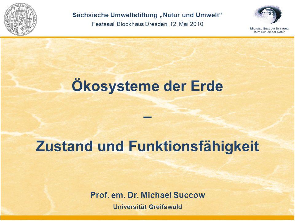 "Prof. em. Dr. Michael Succow Universität Greifswald Sächsische Umweltstiftung ""Natur und Umwelt"" Festsaal, Blockhaus Dresden, 12. Mai 2010 Ökosysteme"