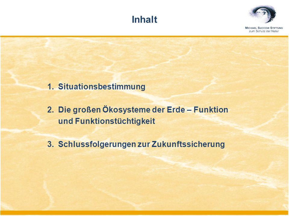 1.Situationsbestimmung 2.Die großen Ökosysteme der Erde – Funktion und Funktionstüchtigkeit 3.Schlussfolgerungen zur Zukunftssicherung Inhalt