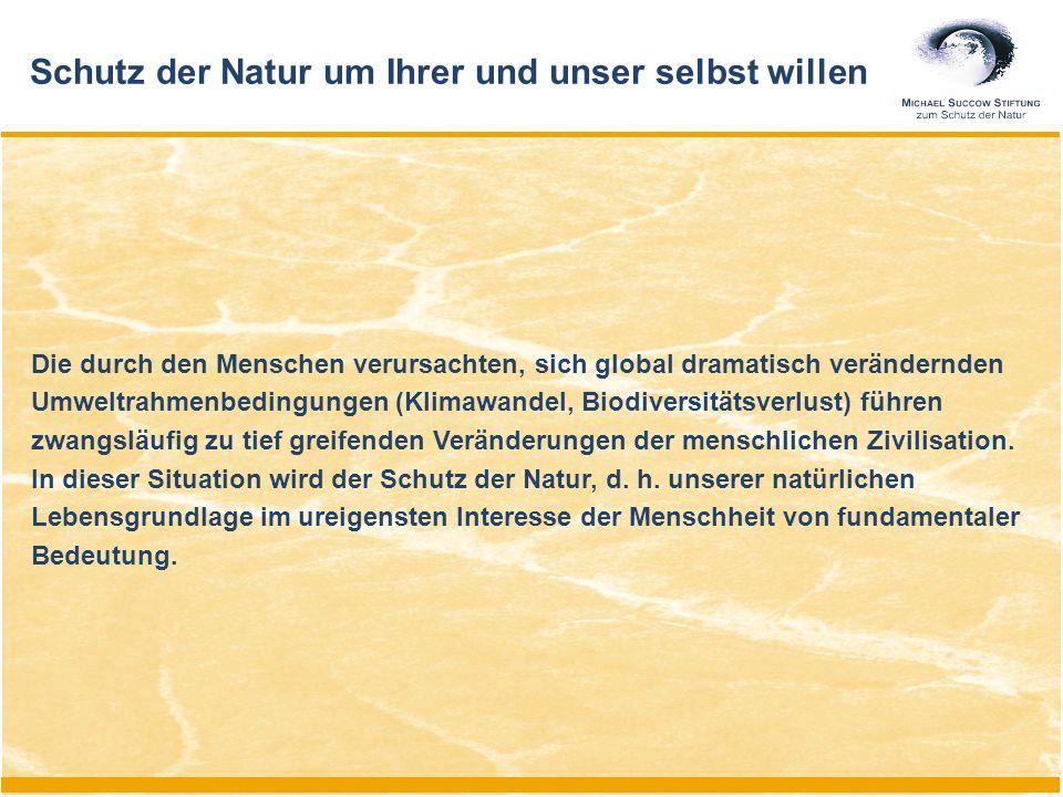 Die durch den Menschen verursachten, sich global dramatisch verändernden Umweltrahmenbedingungen (Klimawandel, Biodiversitätsverlust) führen zwangsläu