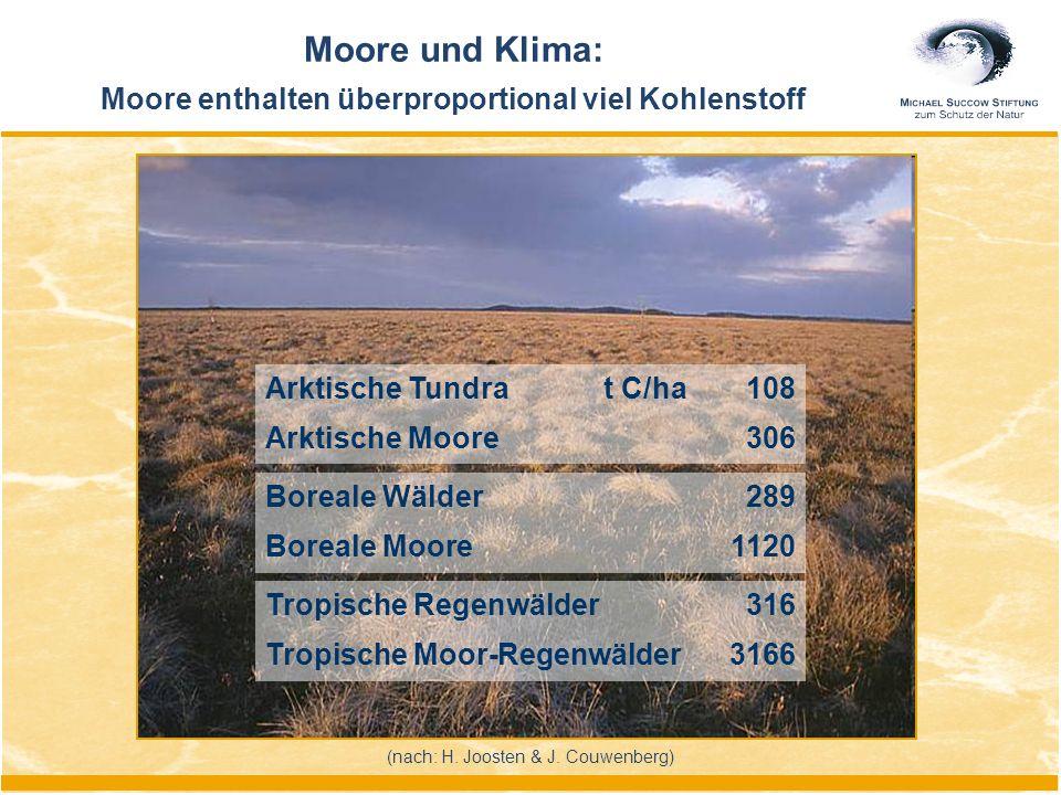 Moore und Klima: Moore enthalten überproportional viel Kohlenstoff (nach: H. Joosten & J. Couwenberg) Arktische Tundra t C/ha108 Arktische Moore306 Bo
