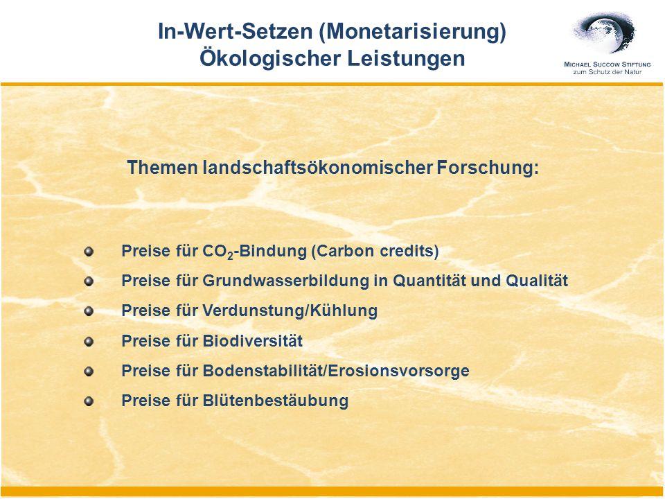 In-Wert-Setzen (Monetarisierung) Ökologischer Leistungen Preise für CO 2 -Bindung (Carbon credits) Preise für Grundwasserbildung in Quantität und Qual