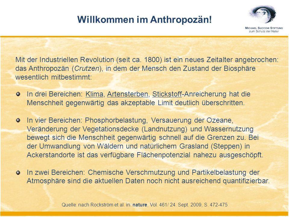 Mit der Industriellen Revolution (seit ca. 1800) ist ein neues Zeitalter angebrochen: das Anthropozän (Crutzen), in dem der Mensch den Zustand der Bio