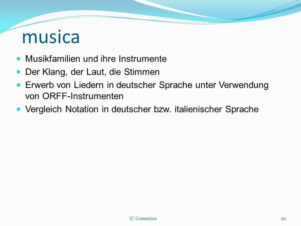 musica Musikfamilien und ihre Instrumente Der Klang, der Laut, die Stimmen Erwerb von Liedern in deutscher Sprache unter Verwendung von ORFF-Instrumen
