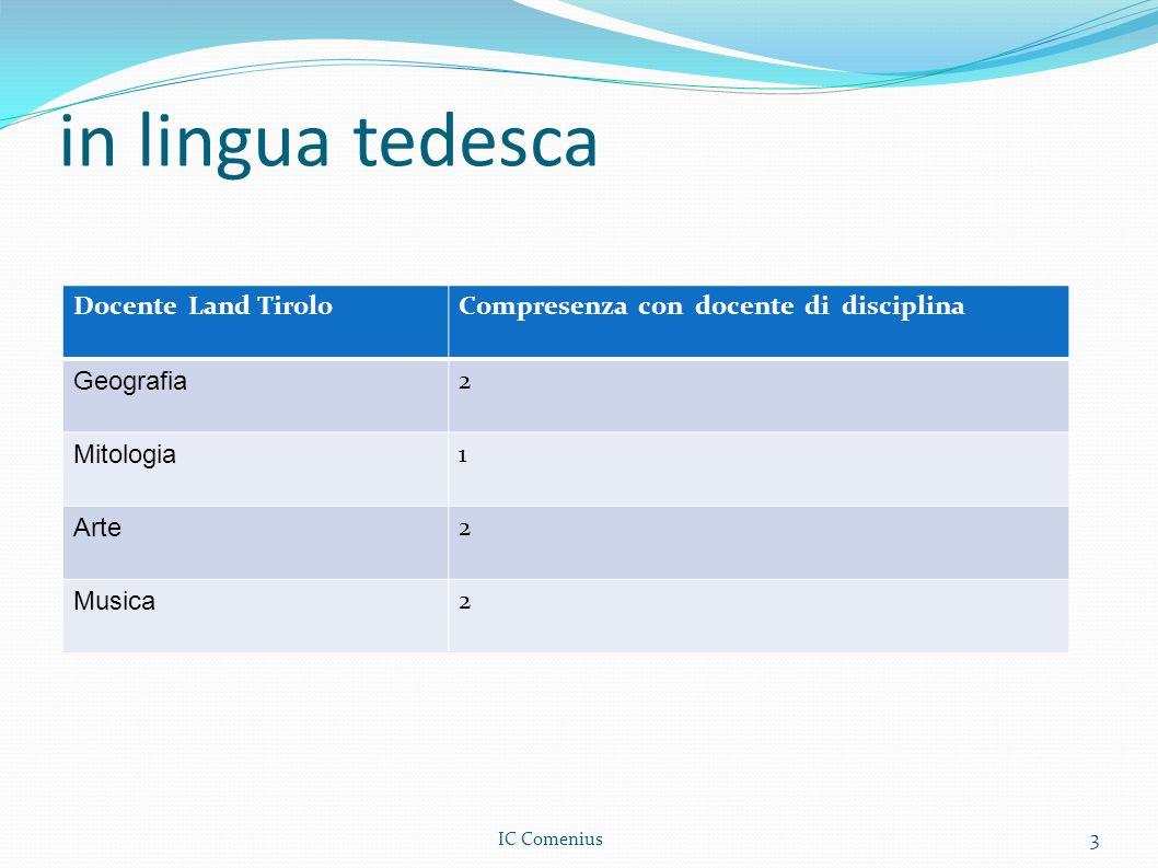 in lingua tedesca Docente Land TiroloCompresenza con docente di disciplina Geografia 2 Mitologia 1 Arte 2 Musica 2 3 IC Comenius