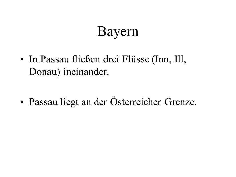 Bayern In Passau fließen drei Flüsse (Inn, Ill, Donau) ineinander.