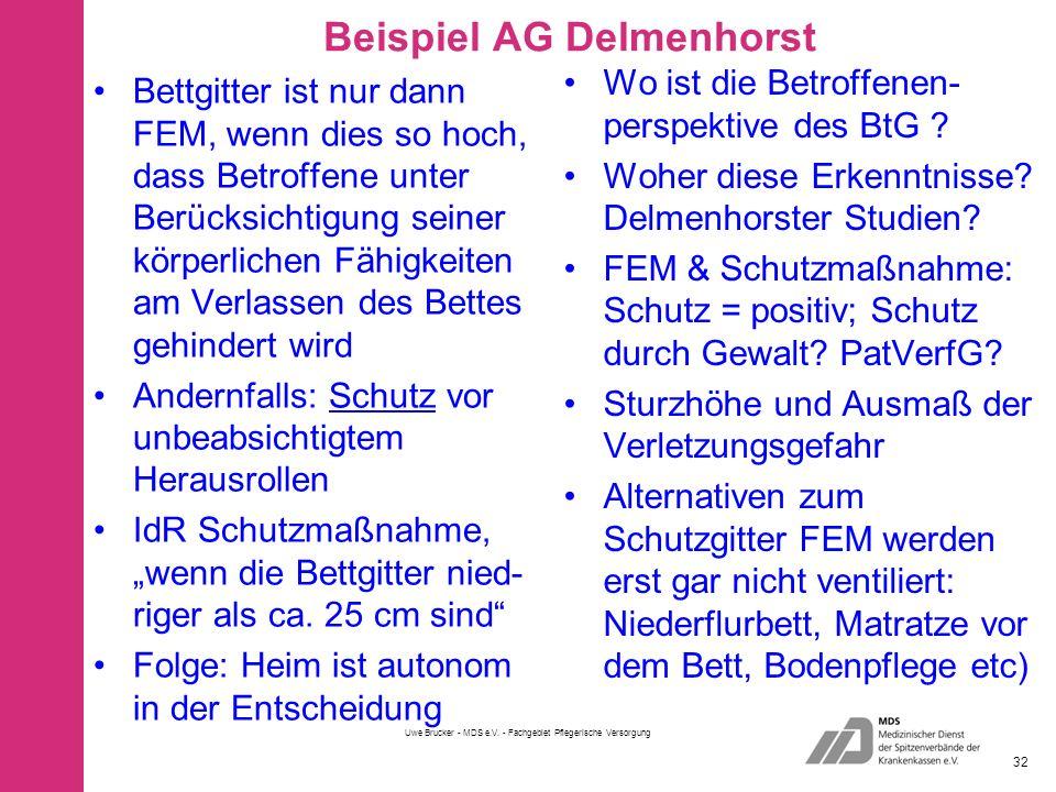 """Beispiel AG Delmenhorst Bettgitter ist nur dann FEM, wenn dies so hoch, dass Betroffene unter Berücksichtigung seiner körperlichen Fähigkeiten am Verlassen des Bettes gehindert wird Andernfalls: Schutz vor unbeabsichtigtem Herausrollen IdR Schutzmaßnahme, """"wenn die Bettgitter nied- riger als ca."""