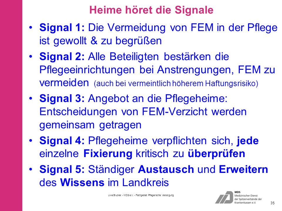 Heime höret die Signale Signal 1: Die Vermeidung von FEM in der Pflege ist gewollt & zu begrüßen Signal 2: Alle Beteiligten bestärken die Pflegeeinrichtungen bei Anstrengungen, FEM zu vermeiden (auch bei vermeintlich höherem Haftungsrisiko) Signal 3: Angebot an die Pflegeheime: Entscheidungen von FEM-Verzicht werden gemeinsam getragen Signal 4: Pflegeheime verpflichten sich, jede einzelne Fixierung kritisch zu überprüfen Signal 5: Ständiger Austausch und Erweitern des Wissens im Landkreis Uwe Brucker - MDS e.V.