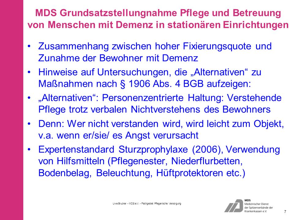 Uwe Brucker - MDS e.V. - Fachgebiet Pflegerische Versorgung 28