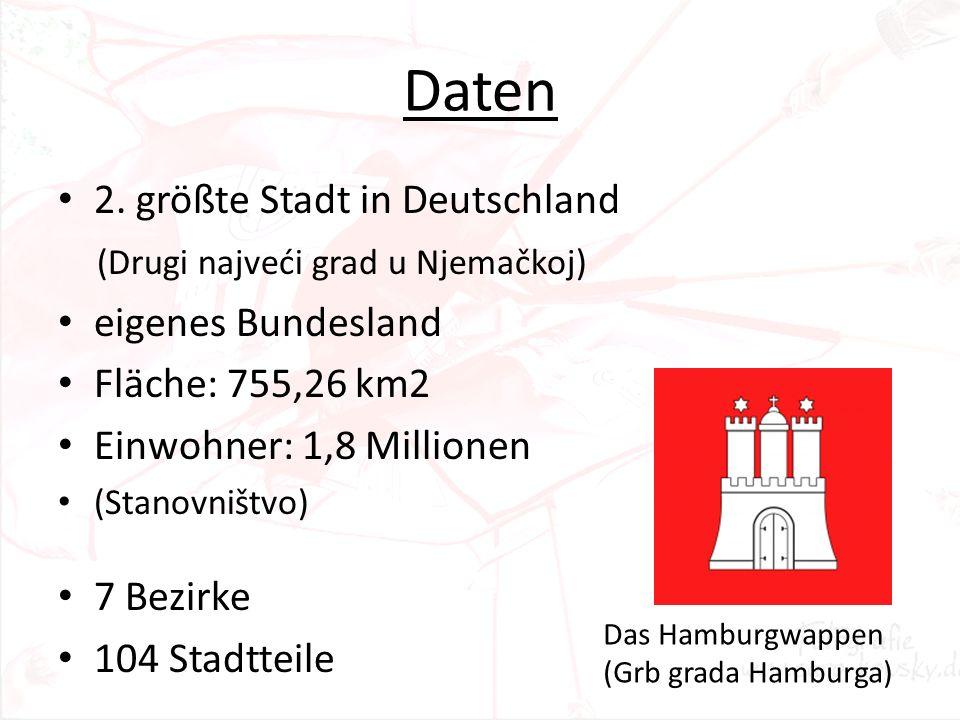 Daten 2. größte Stadt in Deutschland (Drugi najveći grad u Njemačkoj) eigenes Bundesland Fläche: 755,26 km2 Einwohner: 1,8 Millionen (Stanovništvo) 7