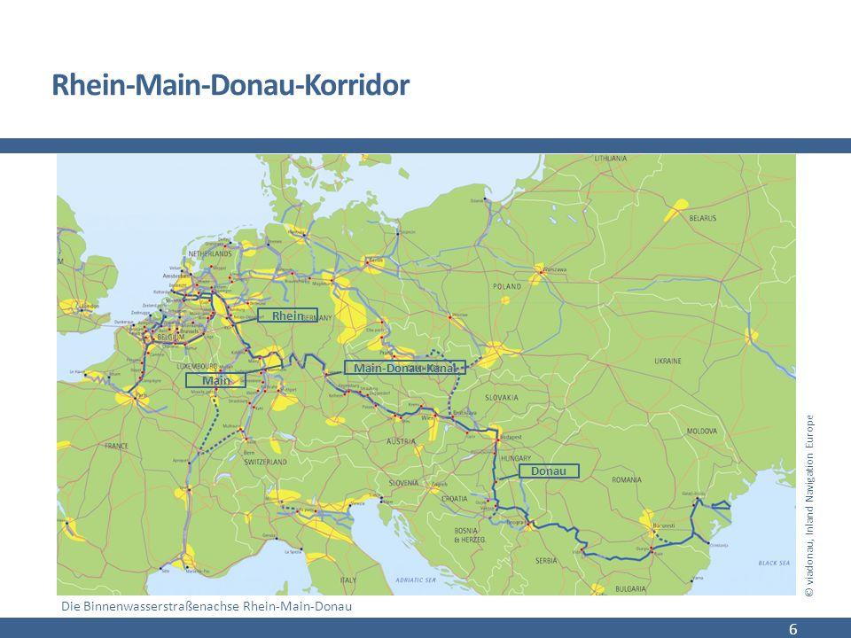 Rhein-Main-Donau-Korridor 6 © viadonau, Inland Navigation Europe Die Binnenwasserstraßenachse Rhein-Main-Donau Rhein Main-Donau-Kanal Main Donau