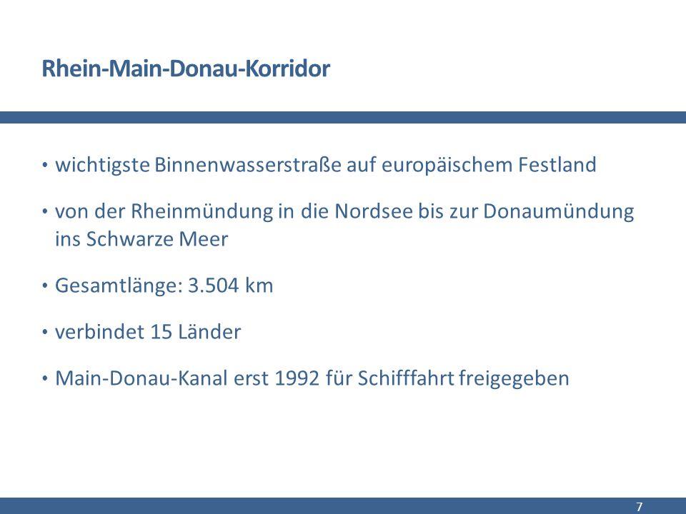 Rhein-Main-Donau-Korridor wichtigste Binnenwasserstraße auf europäischem Festland von der Rheinmündung in die Nordsee bis zur Donaumündung ins Schwarze Meer Gesamtlänge: 3.504 km verbindet 15 Länder Main-Donau-Kanal erst 1992 für Schifffahrt freigegeben 7