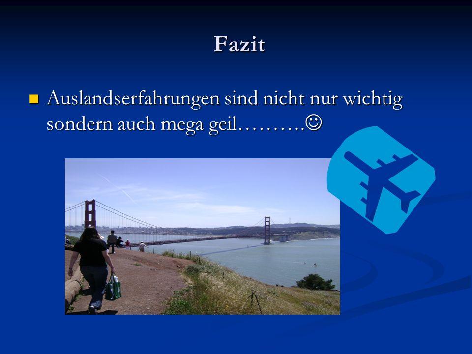 Fazit Fazit Auslandserfahrungen sind nicht nur wichtig sondern auch mega geil……….