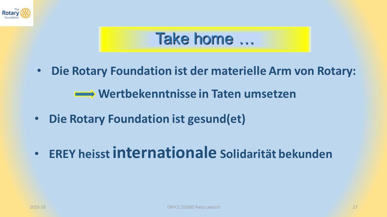 2015-16DRFCC D2000 Reto Laetsch27 Take home … Die Rotary Foundation ist der materielle Arm von Rotary: Wertbekenntnisse in Taten umsetzen EREY heisst internationale Solidarität bekunden Die Rotary Foundation ist gesund(et)