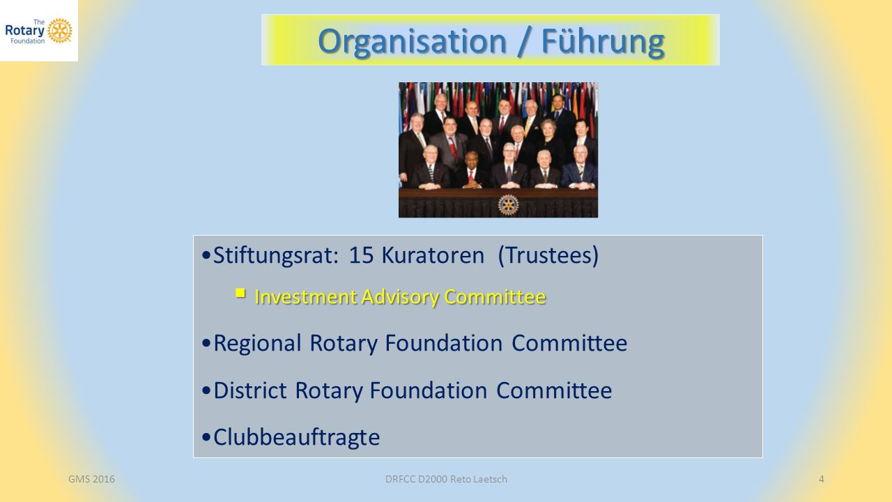 Stiftungsrat: 15 Kuratoren (Trustees)  Investment Advisory Committee Regional Rotary Foundation Committee District Rotary Foundation Committee Clubbe