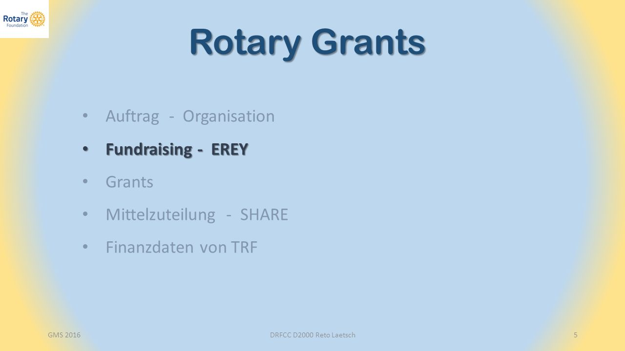 Endowment Fund Polio Partners Beiträge der Clubs: EREY Sustaining Member Paul Harris Fellowship Major Donor Benefactor Bequest Society PolioPlus Fund Kapitalerträge Annual Fund Desaster Recovery Fund Donor Advised Fund GMS 2016DRFCC D2000 Reto Laetsch6 Fundraising