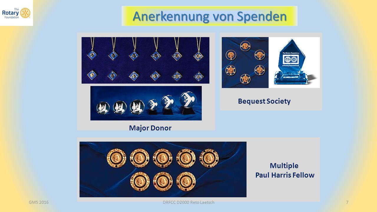 GMS 2016DRFCC D2000 Reto Laetsch8 Das Spendenziel von Rotary International: Every Rotarian Every Year EREY USD 100 in den Annual Fund