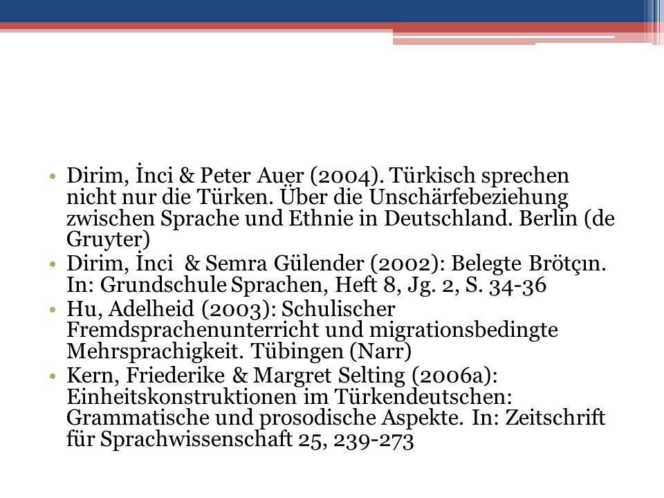 Dirim, İnci & Semra Gülender (2002): Belegte Brötçın.