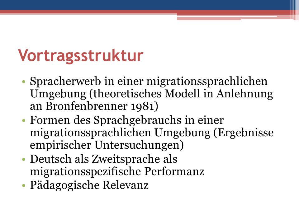 Vortragsstruktur Spracherwerb in einer migrationssprachlichen Umgebung (theoretisches Modell in Anlehnung an Bronfenbrenner 1981) Formen des Sprachgebrauchs in einer migrationssprachlichen Umgebung (Ergebnisse empirischer Untersuchungen) Deutsch als Zweitsprache als migrationsspezifische Performanz Pädagogische Relevanz