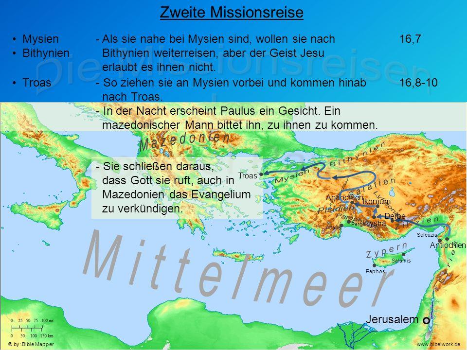 Jerusalem Antiochien Seleuzia Zweite Missionsreise Mysien Bithynien - Als sie nahe bei Mysien sind, wollen sie nach Bithynien weiterreisen, aber der Geist Jesu erlaubt es ihnen nicht.