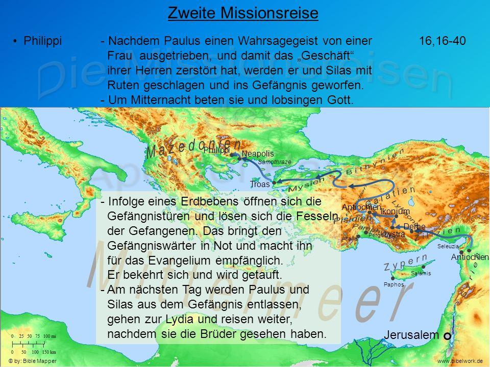 """Jerusalem Antiochien Seleuzia Zweite Missionsreise Philippi- Nachdem Paulus einen Wahrsagegeist von einer Frau ausgetrieben, und damit das """"Geschäft ihrer Herren zerstört hat, werden er und Silas mit Ruten geschlagen und ins Gefängnis geworfen."""