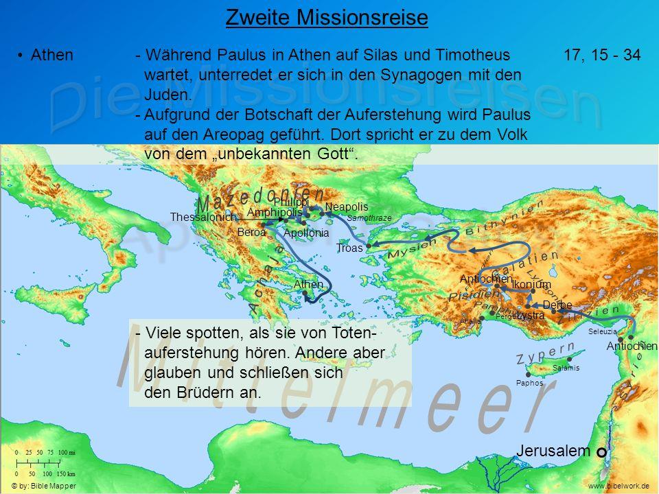 Jerusalem Antiochien Seleuzia Zweite Missionsreise Athen- Während Paulus in Athen auf Silas und Timotheus wartet, unterredet er sich in den Synagogen mit den Juden.