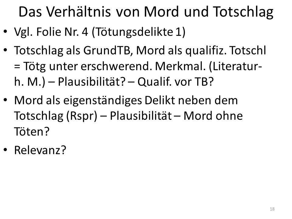 Das Verhältnis von Mord und Totschlag Vgl. Folie Nr.