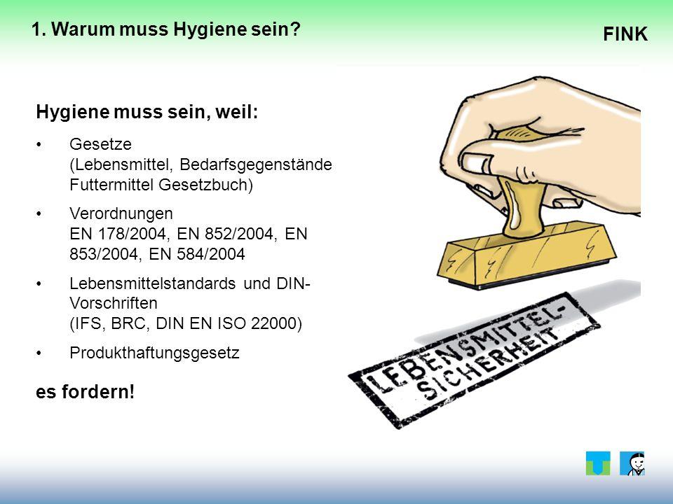 FINK Hygiene muss sein, weil: Gesetze (Lebensmittel, Bedarfsgegenstände und Futtermittel Gesetzbuch) Verordnungen EN 178/2004, EN 852/2004, EN 853/2004, EN 584/2004 Lebensmittelstandards und DIN- Vorschriften (IFS, BRC, DIN EN ISO 22000) Produkthaftungsgesetz es fordern.