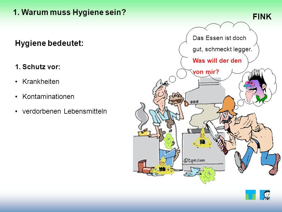 FINK Hygiene bedeutet: 1.Schutz vor: Krankheiten Kontaminationen verdorbenen Lebensmitteln Das Essen ist doch gut, schmeckt legger.