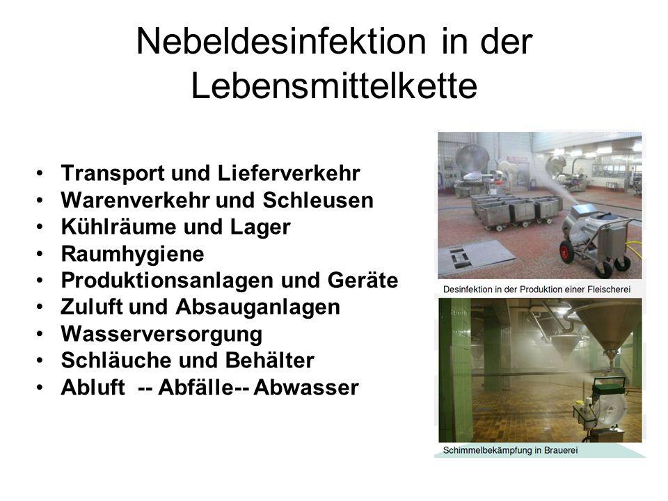 Nebeldesinfektion in der Lebensmittelkette Transport und Lieferverkehr Warenverkehr und Schleusen Kühlräume und Lager Raumhygiene Produktionsanlagen und Geräte Zuluft und Absauganlagen Wasserversorgung Schläuche und Behälter Abluft -- Abfälle-- Abwasser