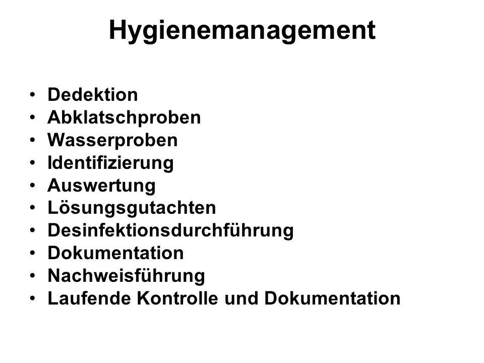 Hygienemanagement Dedektion Abklatschproben Wasserproben Identifizierung Auswertung Lösungsgutachten Desinfektionsdurchführung Dokumentation Nachweisführung Laufende Kontrolle und Dokumentation