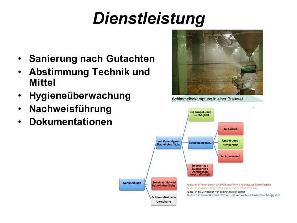Dienstleistung Sanierung nach Gutachten Abstimmung Technik und Mittel Hygieneüberwachung Nachweisführung Dokumentationen