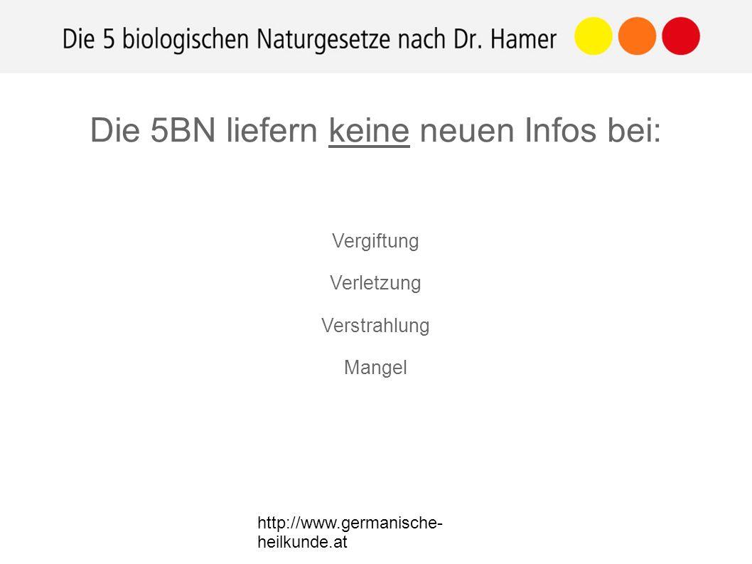 http://www.germanische- heilkunde.at Vergiftung Verletzung Verstrahlung Mangel Die 5BN liefern keine neuen Infos bei: