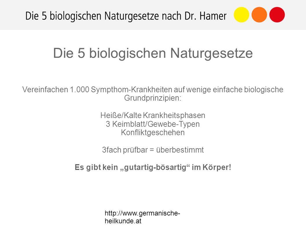 """http://www.germanische- heilkunde.at Vereinfachen 1.000 Sympthom-Krankheiten auf wenige einfache biologische Grundprinzipien: Heiße/Kalte Krankheitsphasen 3 Keimblatt/Gewebe-Typen Konfliktgeschehen 3fach prüfbar = überbestimmt Es gibt kein """"gutartig-bösartig im Körper."""
