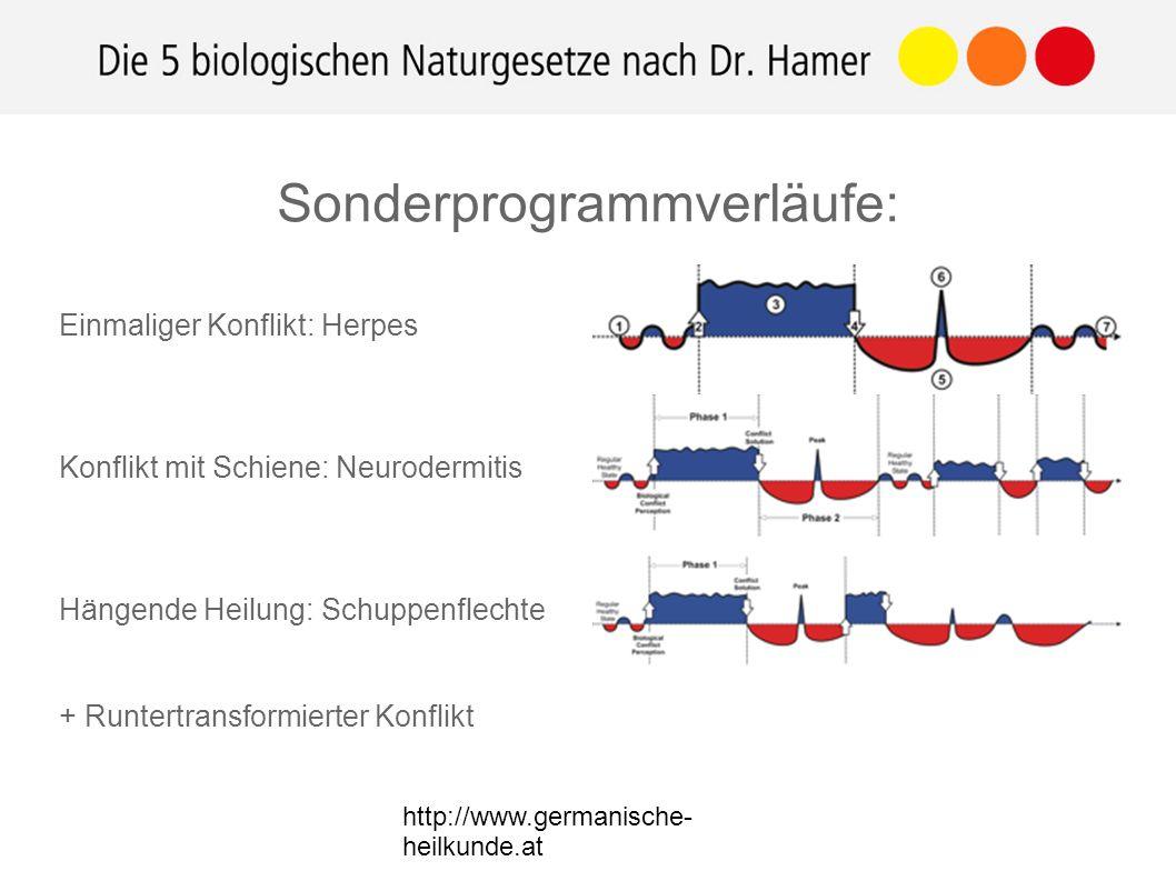 http://www.germanische- heilkunde.at Sonderprogrammverläufe: Einmaliger Konflikt: Herpes Konflikt mit Schiene: Neurodermitis Hängende Heilung: Schuppenflechte + Runtertransformierter Konflikt