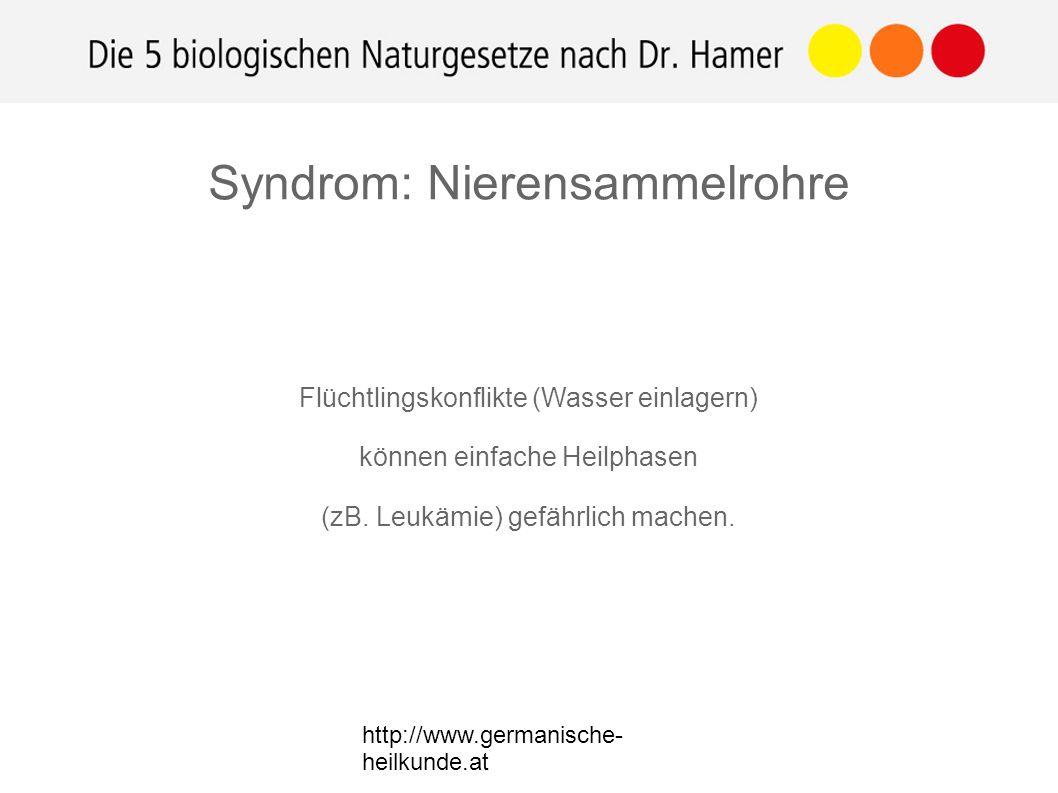 Flüchtlingskonflikte (Wasser einlagern) können einfache Heilphasen (zB. Leukämie) gefährlich machen. Syndrom: Nierensammelrohre