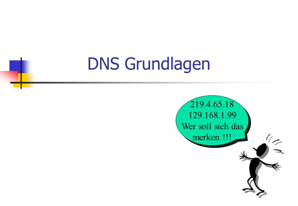 DNS Grundlagen 219.4.65.18 129.168.1.99 Wer soll sich das merken !!.