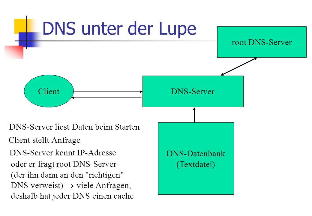 DNS unter der Lupe DNS-Server DNS-Datenbank (Textdatei) DNS-Server liest Daten beim Starten Client Client stellt Anfrage DNS-Server kennt IP-Adresse root DNS-Server oder er fragt root DNS-Server (der ihn dann an den richtigen DNS verweist)  viele Anfragen, deshalb hat jeder DNS einen cache