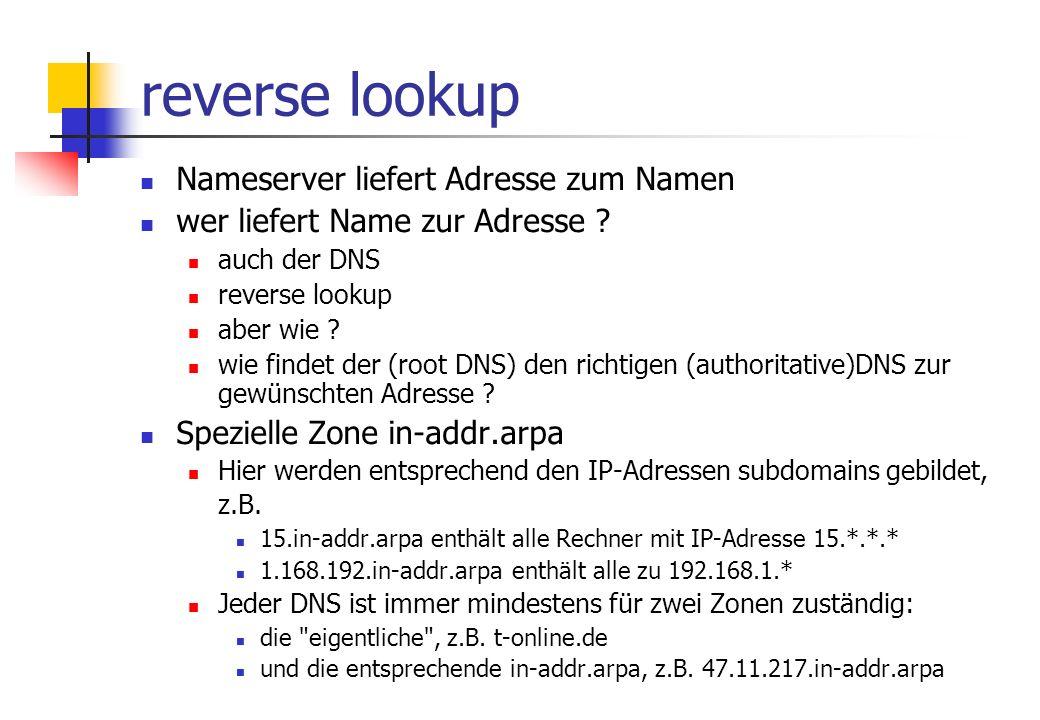 reverse lookup Nameserver liefert Adresse zum Namen wer liefert Name zur Adresse .