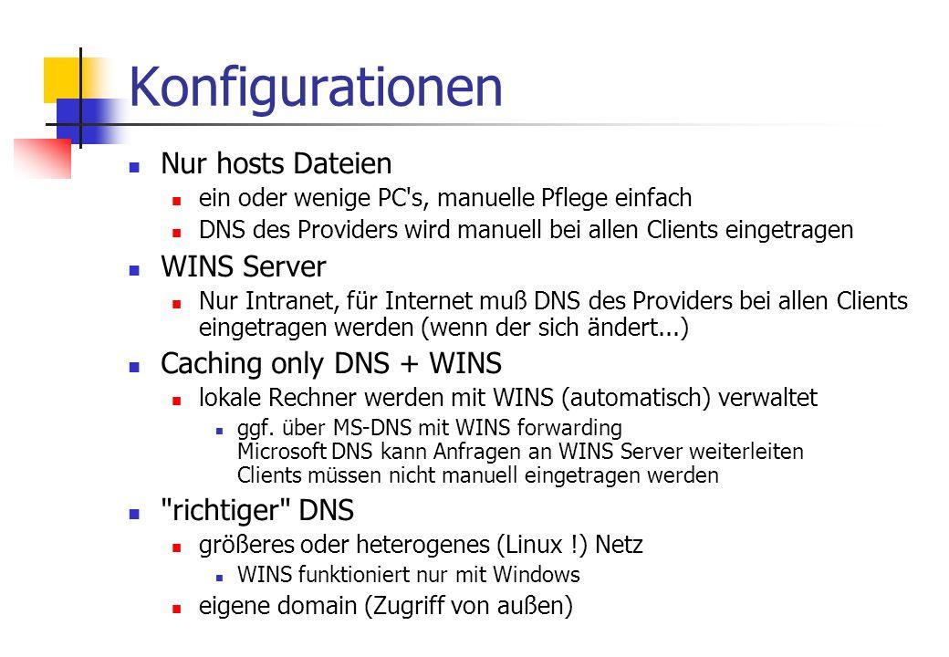 Konfigurationen Nur hosts Dateien ein oder wenige PC s, manuelle Pflege einfach DNS des Providers wird manuell bei allen Clients eingetragen WINS Server Nur Intranet, für Internet muß DNS des Providers bei allen Clients eingetragen werden (wenn der sich ändert...) Caching only DNS + WINS lokale Rechner werden mit WINS (automatisch) verwaltet ggf.