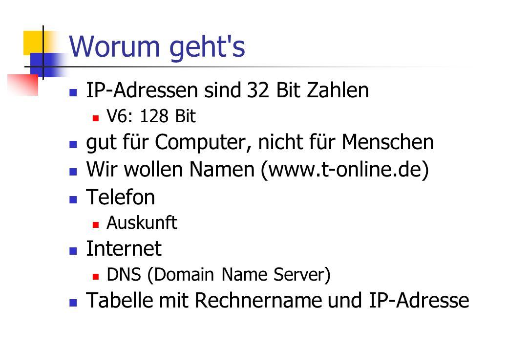 Worum geht s IP-Adressen sind 32 Bit Zahlen V6: 128 Bit gut für Computer, nicht für Menschen Wir wollen Namen (www.t-online.de) Telefon Auskunft Internet DNS (Domain Name Server) Tabelle mit Rechnername und IP-Adresse