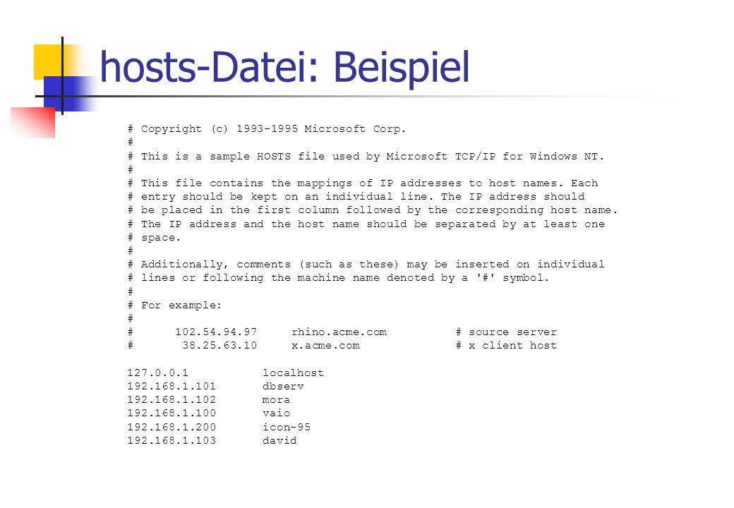 hosts-Datei: Beispiel # Copyright (c) 1993-1995 Microsoft Corp.