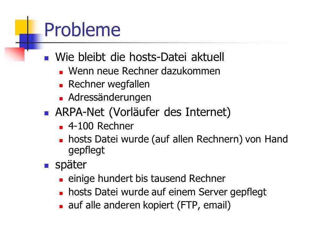 Probleme Wie bleibt die hosts-Datei aktuell Wenn neue Rechner dazukommen Rechner wegfallen Adressänderungen ARPA-Net (Vorläufer des Internet) 4-100 Rechner hosts Datei wurde (auf allen Rechnern) von Hand gepflegt später einige hundert bis tausend Rechner hosts Datei wurde auf einem Server gepflegt auf alle anderen kopiert (FTP, email)