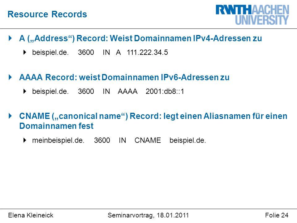 """Elena KleineickFolie 24Seminarvortrag, 18.01.2011  A (""""Address ) Record: Weist Domainnamen IPv4-Adressen zu  beispiel.de."""
