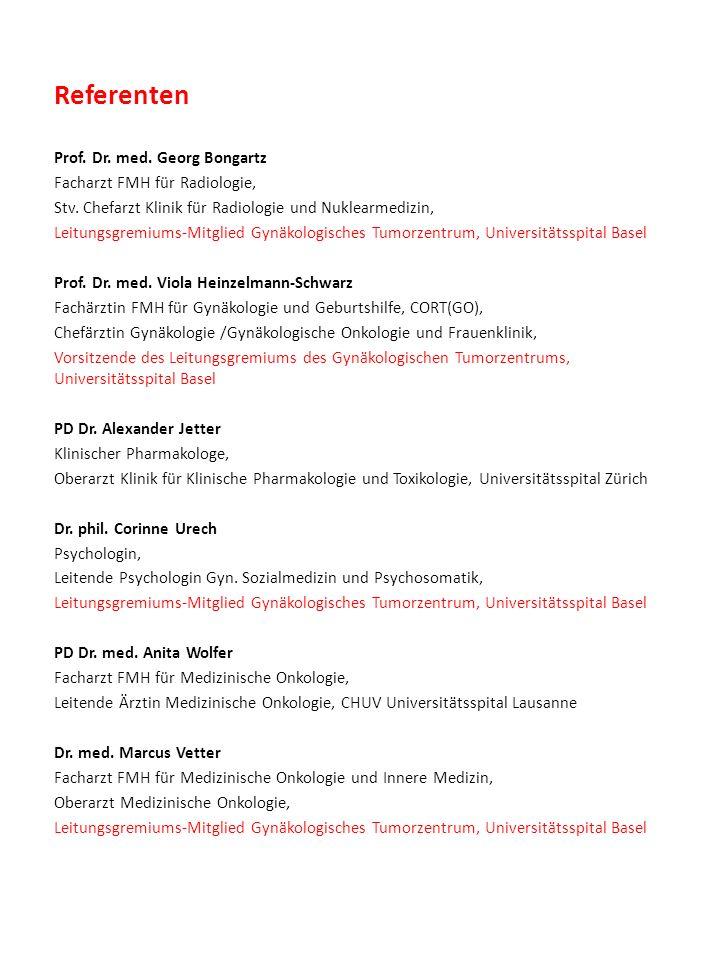 Referenten Prof. Dr. med. Georg Bongartz Facharzt FMH für Radiologie, Stv.