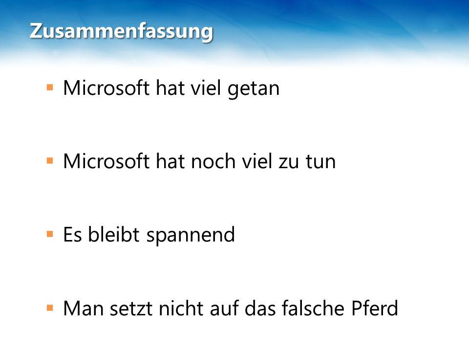 Zusammenfassung  Microsoft hat viel getan  Microsoft hat noch viel zu tun  Es bleibt spannend  Man setzt nicht auf das falsche Pferd