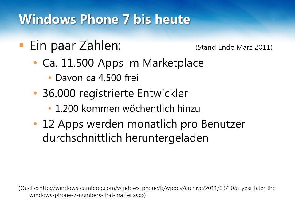 Windows Phone 7 bis heute  Ein paar Zahlen: (Stand Ende März 2011) Ca. 11.500 Apps im Marketplace Davon ca 4.500 frei 36.000 registrierte Entwickler